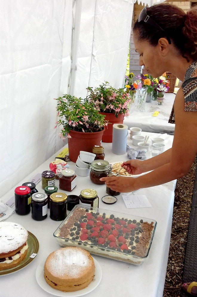 Class 1, 2 and 3. Judging of the preserves and cakes. Higher number of entries this year. All of a high standard.