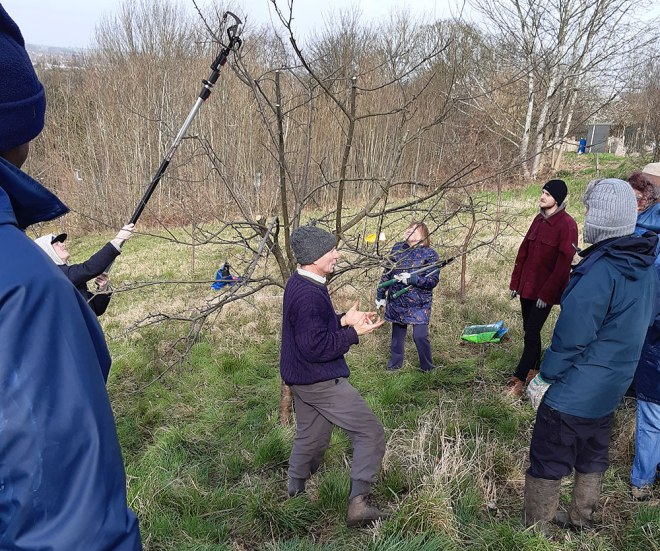 Theory first. Colin giving instructions to the budding tree surgeons.